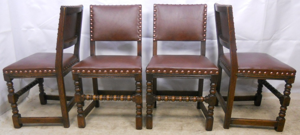 - Set Of Four Antique Jacobean Style Studded Back Dining Chairs - SOLD